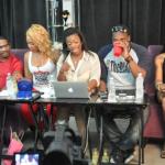 Stevie J, Joseline Hernandez et Mimi Faust discutent avec Burruss Kandi