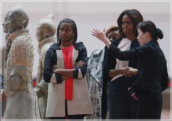 Michelle Obama et ses filles Malia et Sasha quittent la Chine