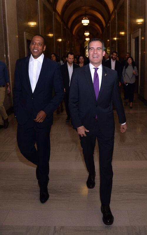 Jay-Z avec le maire de Los Angeles