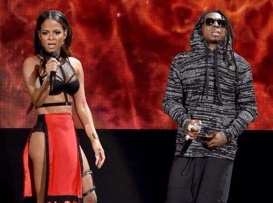Christina Milian et Lil Wayne sur scène aux AMA Awards 2014