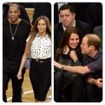 Beyonce et Jay-Z rencontrent le Prince Williams et sa femme Kate lors d'un match de Lebron James