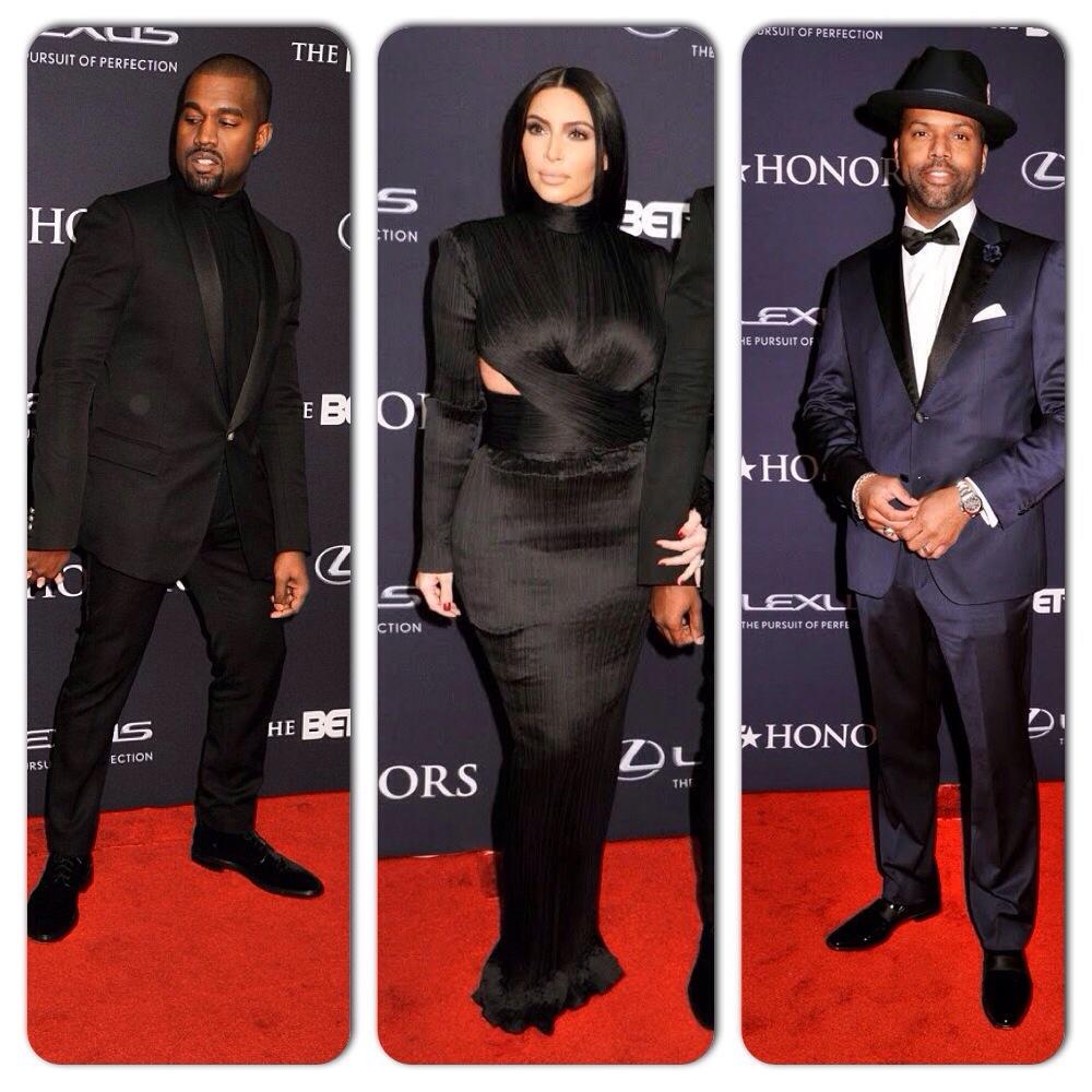 Kanye West, Kim Kardashian et AJ Calloway sur le tapis rouge des BET Honors 2015