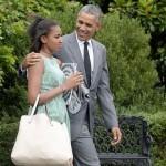 Barack Obama passe un beau moment avec ses filles Malia et Sasha à New York City