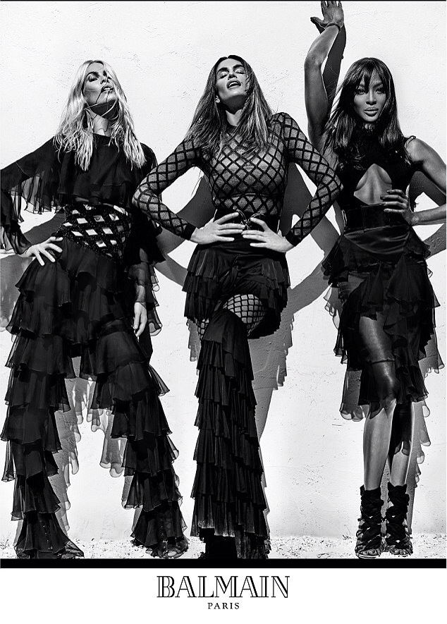 Naomi Campbell, Cindy Crawford and Claudia Schiffer  for Balmain new camapaign