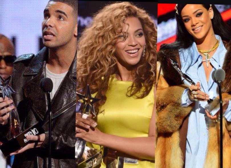 Drake, Beyonce, Rihanna