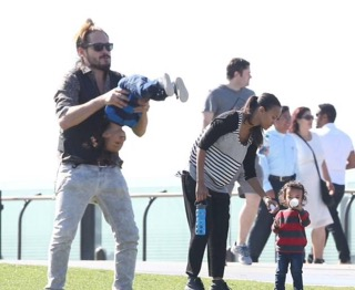 Zoe Saldana having a happy family time