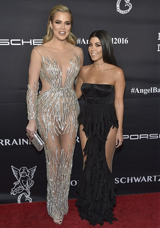 Khloe and Kourtney Kardashian at the Angel Ball in NYC