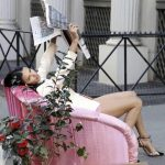 Adriana Lima posing in NYC for a new campaign