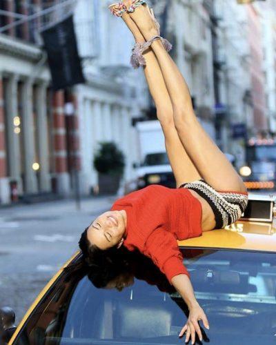 Adriana Lima posing in NYC