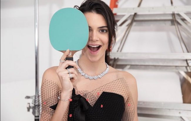 Kendall Jenner posing for Tiffany & Co
