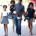 Djimon Hounsou et ses enfants Kenzo, Aoki et Ming Lee