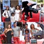 Djimon Hounsou, Tia Mowry Hardrict, Holly Robinson Peete et leurs enfants assistent à l'avant première du film How To Train Your Dragon 2