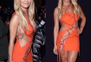 Rita Ora at Versace Fashion Show - Paris Fashion Week