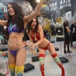 Kendall Jenner having fun with Adriana Lima after Victoria's Secret Fashion Show
