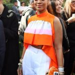 Rihanna looking beautiful in orange at the Roc Nation pre-Grammy Awards brunch